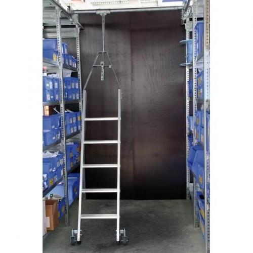 Guenzburger Aluminium-Regalleiter fuer Doppelregal drehbar, 8 Stufen, 44508