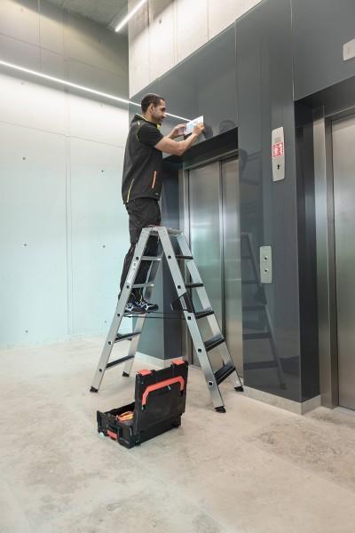 Günzburger Aluminium-Stehleiter-relax step-beidseitig begehbar 2 x 8 Stufen, 42216