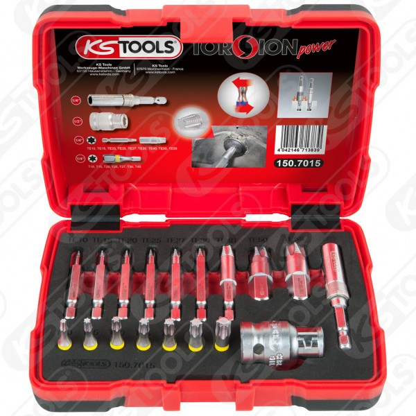 "KS-Tools 1/4"" + 10 mm Spezial-TX-Schrauben-Ausdreher-Satz, 18-tlg., 150.7015"
