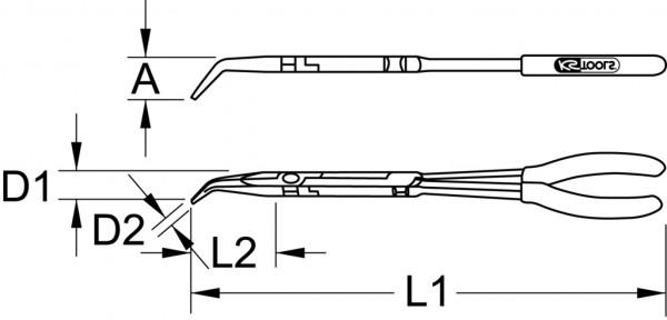 KS Tools 500.7163 Doppelgelenk-Flachrundzange