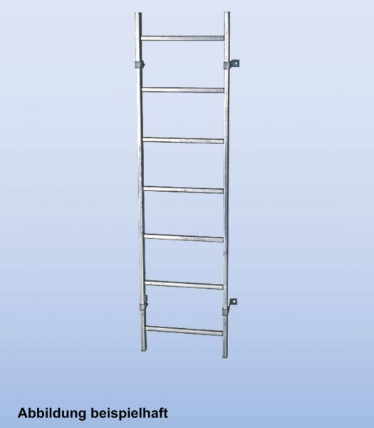 SchachtLeitern aus Edelstahl V4A, Lichte Weite 300 mm, Länge 3,92 m, Außenbreite 340 mm, 14 Sprossen, Artikel-Nr.: 816139