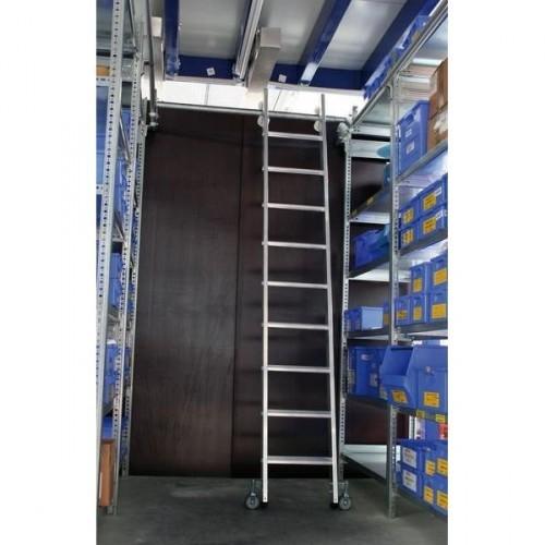 Guenzburger Aluminium-Regalleiter fuer Doppelregal, seitlich verschiebbar, 9 Stufen, 44609