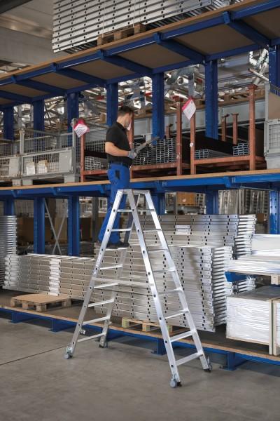 Günzburger Aluminium-Stehleiter beidseitig begehbar, mit Rollen 2x14 Stufen, 41228