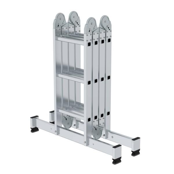 Günzburger Aluminium-Vielzweckleiter mit nivello-Traverse 4 x 3 Sprossen, 31312