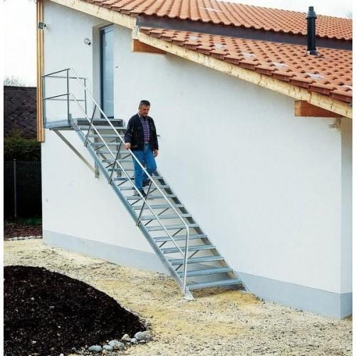 Guenzburger Alu-Treppe 4 St. mit Plattform, 45 Grad, 300444