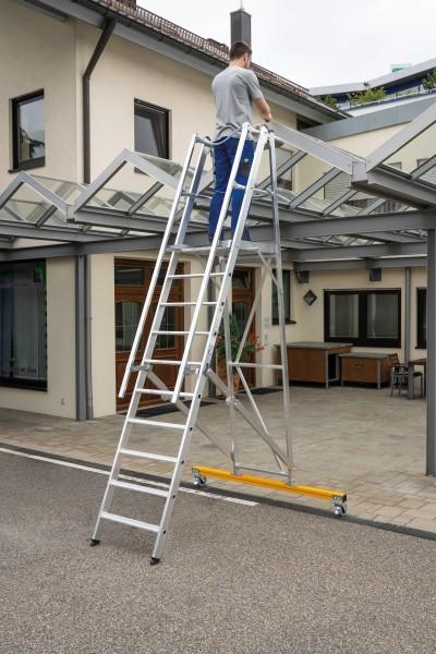 Günzburger Aluminium-Podestleiter fahrbar, klappbar, 12 Stufen, 52312