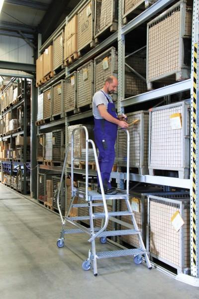 Günzburger Aluminium-Podestleiter,beidseitig begehbar, 7 Stufen, 51207