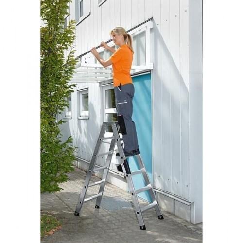 Guenzburger Aluminium-Stufen-Stehleiter beidseitig begehbar 2 x 14 Stufen, 40228
