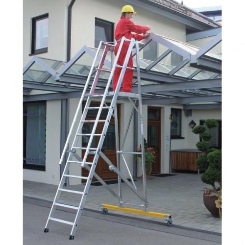 Guenzburger Aluminium-Podestleiter fahrbar, klappbar, 10 Stufen, 52310