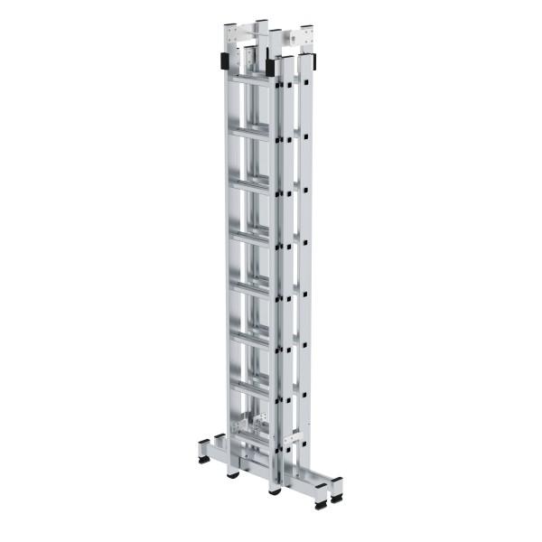 Günzburger Aluminium-Stehleiter 4-teilig mit nivello-Traverse 4 x 8 Sprossen, 33032