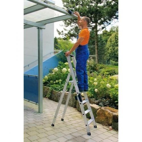 Guenzburger Aluminium-Stufen-Stehleiter einseitig begehbar 1 x 6 Stufen, 40106
