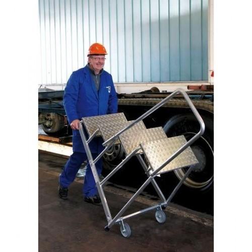 Guenzburger Aluminium-Arbeitspodest, mit Handlauf, starr, 3 Stufen, 50043