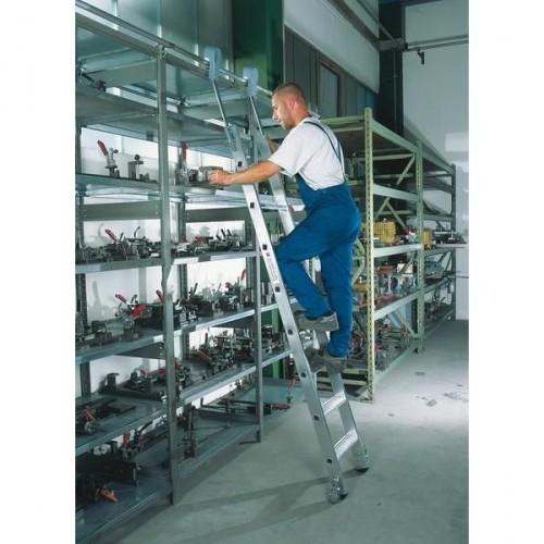 Guenzburger Aluminium-Regalleiter,fahrbar, 14 Stufen, 41414