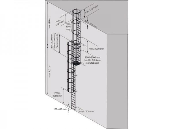 STABILO Ortsfeste Steigleiter, mehrzügig nach DIN 14122-4, Steighöhe: ca. 16,80 m, Aluminium, Artikel-Nr.: 838933