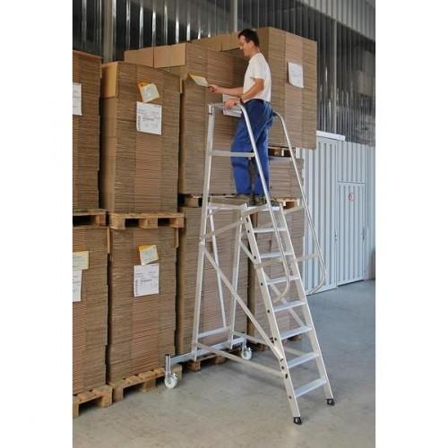 Guenzburger Aluminium-Plattformleiter fahrbar, 8 Stufen, 52508