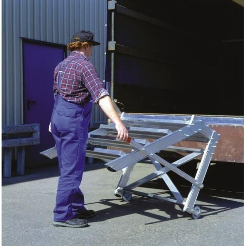 Guenzburger Aluminium-Arbeitspodest, fahrbar, 2 Stufen, 50019