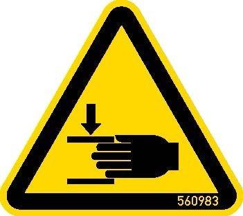 STABILO Hinweisschild Warnschild Handverletzung 50mm, 5 Stück, 202062